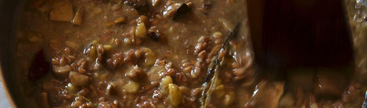 Spelt & chestnut soup