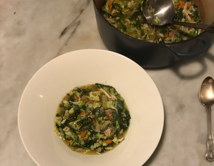 Lentil, cabbage and chicken soup